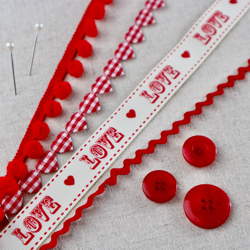 Vintage Valentine Ribbon collection. Valentines Ribbon, Vintage fair ground font. Boho Valentines Ribbon - StitchKits Crafts