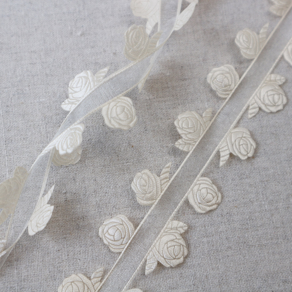 Bridal Cream Rose Ribbons Collection - StitchKits Crafts