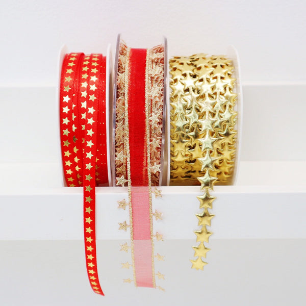 Red and Gold Star Ribbon Collection - StitchKits Crafts