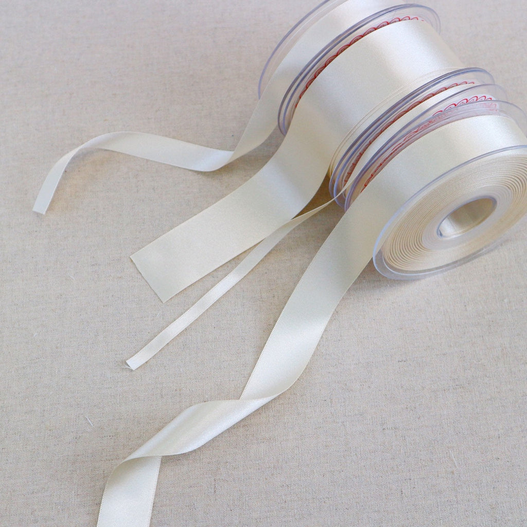 Pearl White Satin Ribbon. 20 Meter Reel - StitchKits Crafts