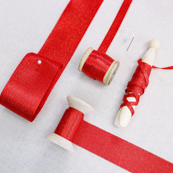 Rich Red Satin Ribbon With Gold Sparkles - StitchKits Crafts