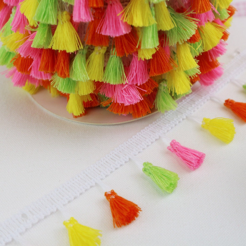 Multi coloured, Neon Tassel Trim - StitchKits Crafts