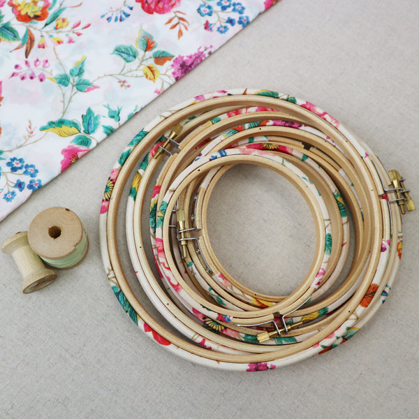 Summer Floral Liberty Tana Lawn Fabric Wrapped Embroidery Hoops - StitchKits Crafts