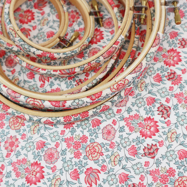 Coral Flower Print Liberty Tana Lawn Fabric Wrapped Embroidery Hoops - StitchKits Crafts