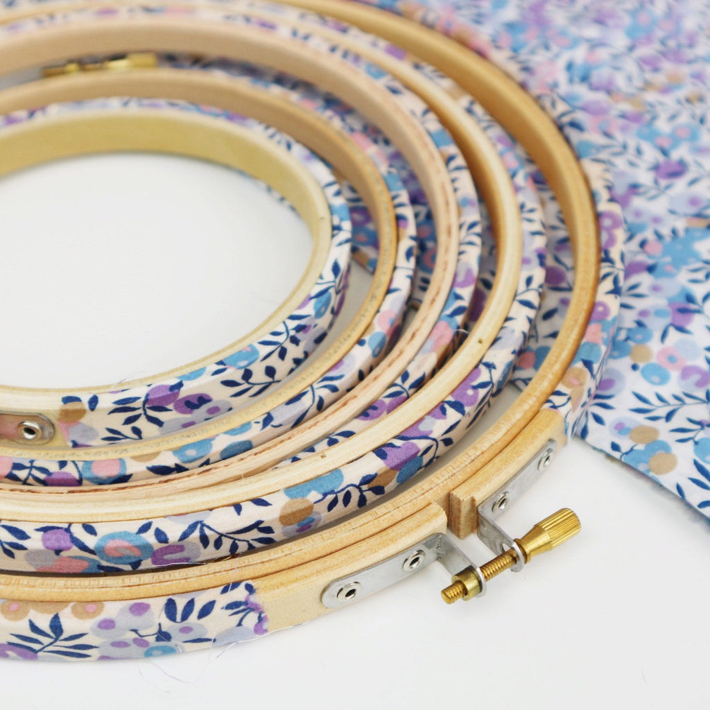 Lilac and Blue 'Wiltshire Berry',  Liberty Fabric Tana Lawn Covered Embroidery Hoops - StitchKits Crafts