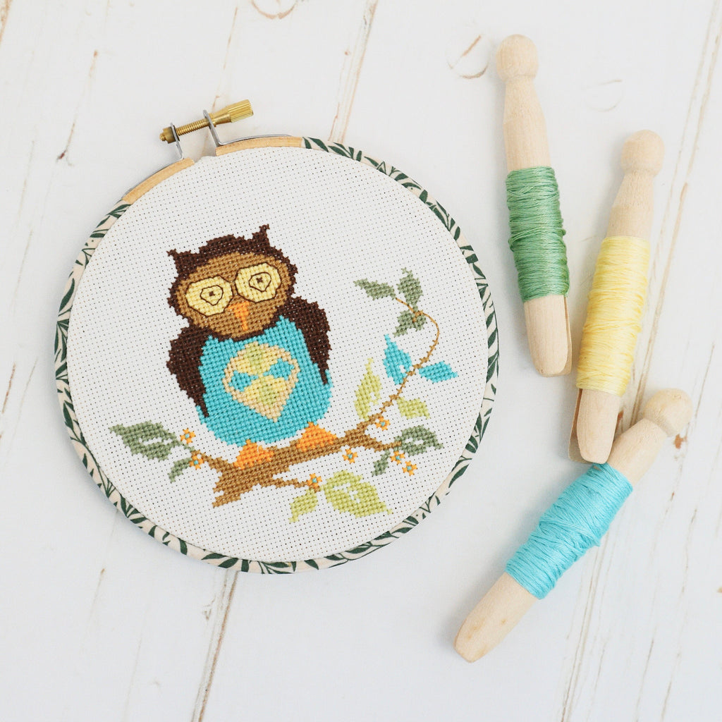 Woodland Owl Cross Stitch Wall Hanging Kit - StitchKits Crafts