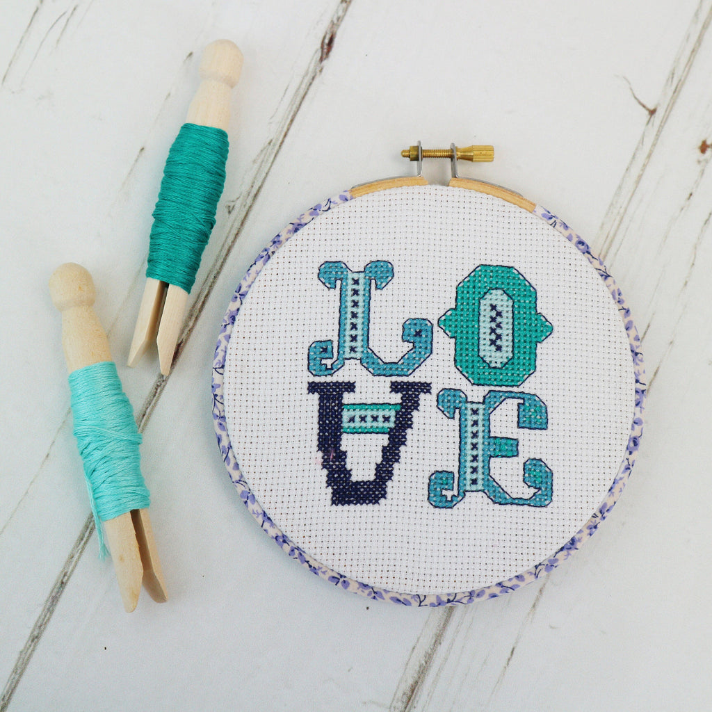 Ocean Blue Love Cross Stitch  Hoop Kit - StitchKits Crafts