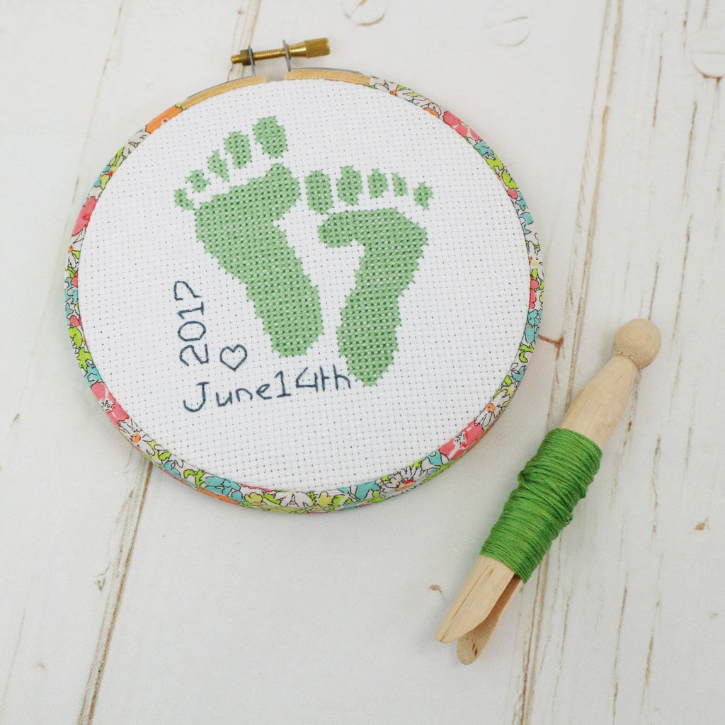 Green 'Baby Feet' Cross Stitch Hoop Kit - StitchKits Crafts