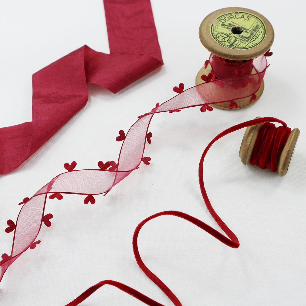 Deep Red Valentine Ribbon collection - StitchKits Crafts