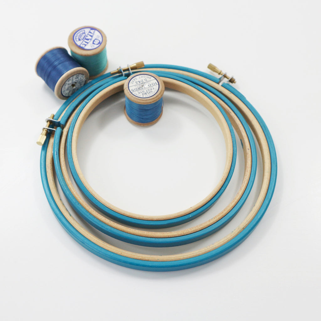 Deep Turquoise Painted Embroidery hoops - StitchKits Crafts