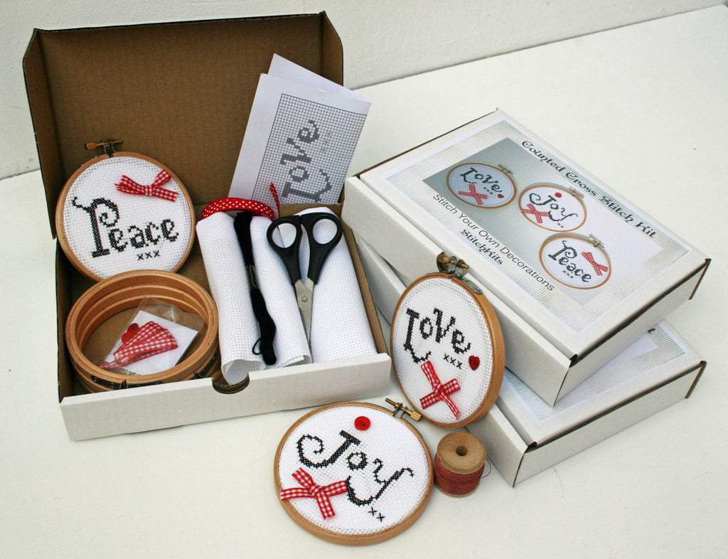 Love Joy & Peace Hoop Ornament, Cross Stitch Kit. - StitchKits Crafts