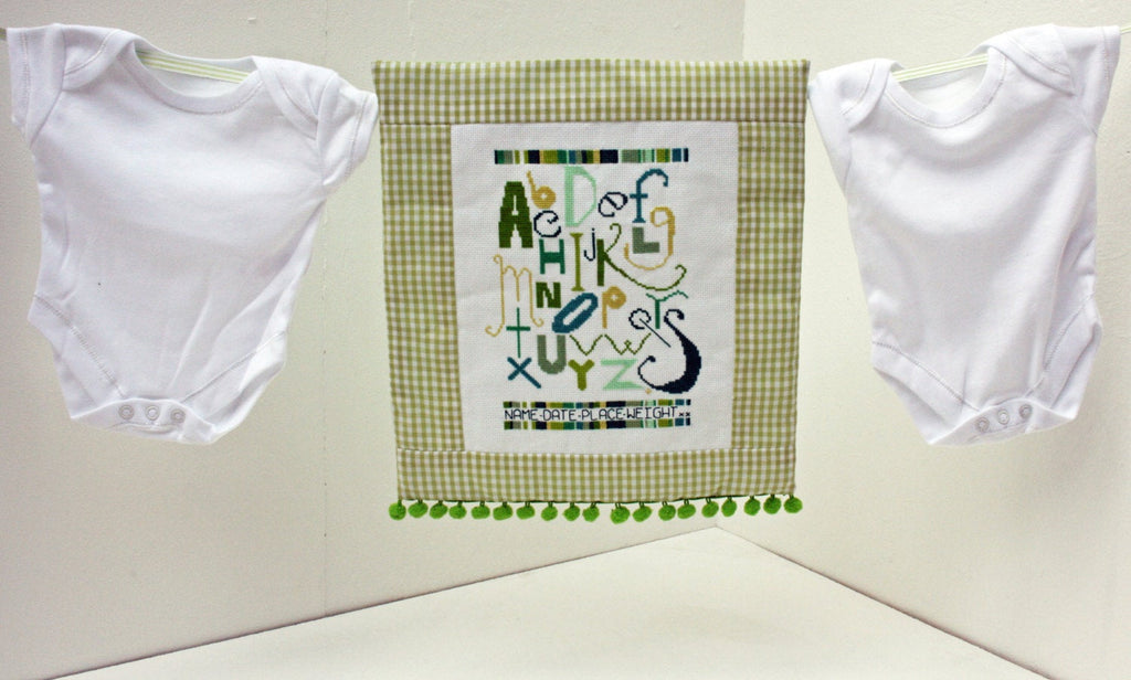Green Alphabet Sampler Cross Stitch Kit - StitchKits Crafts