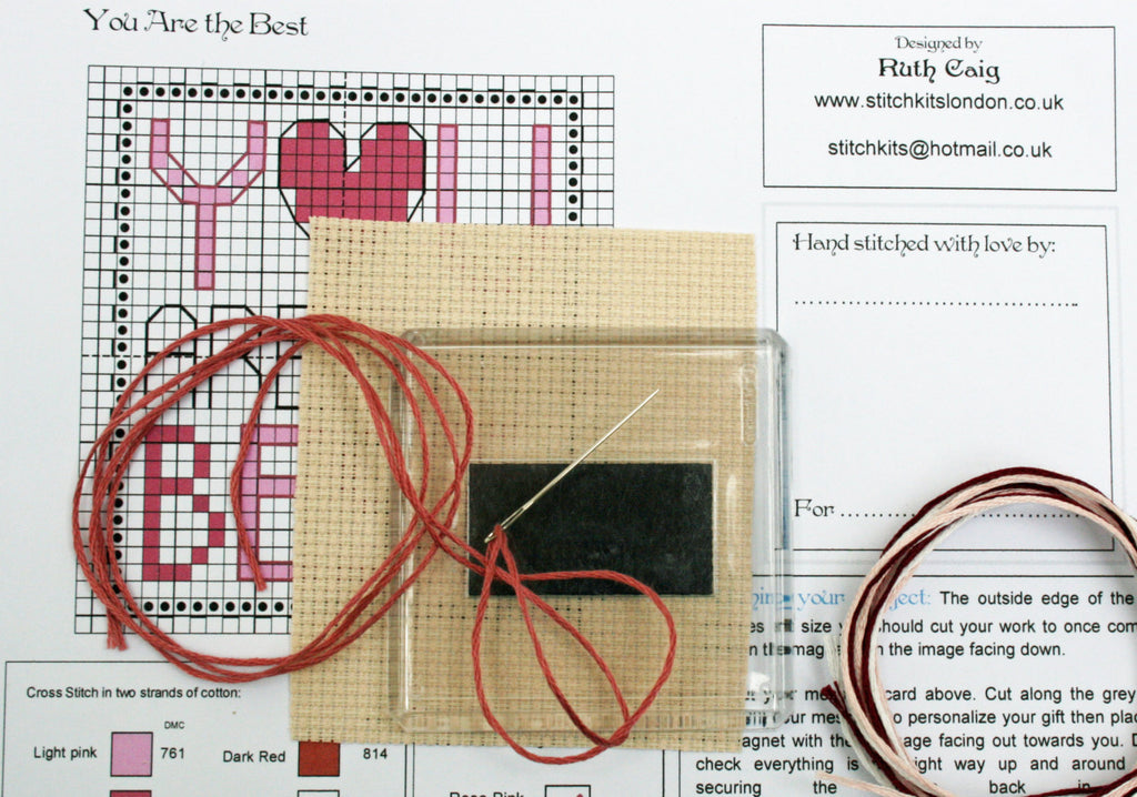 You are the Best, Cross Stitch Fridge Magnet Kit - StitchKits Crafts