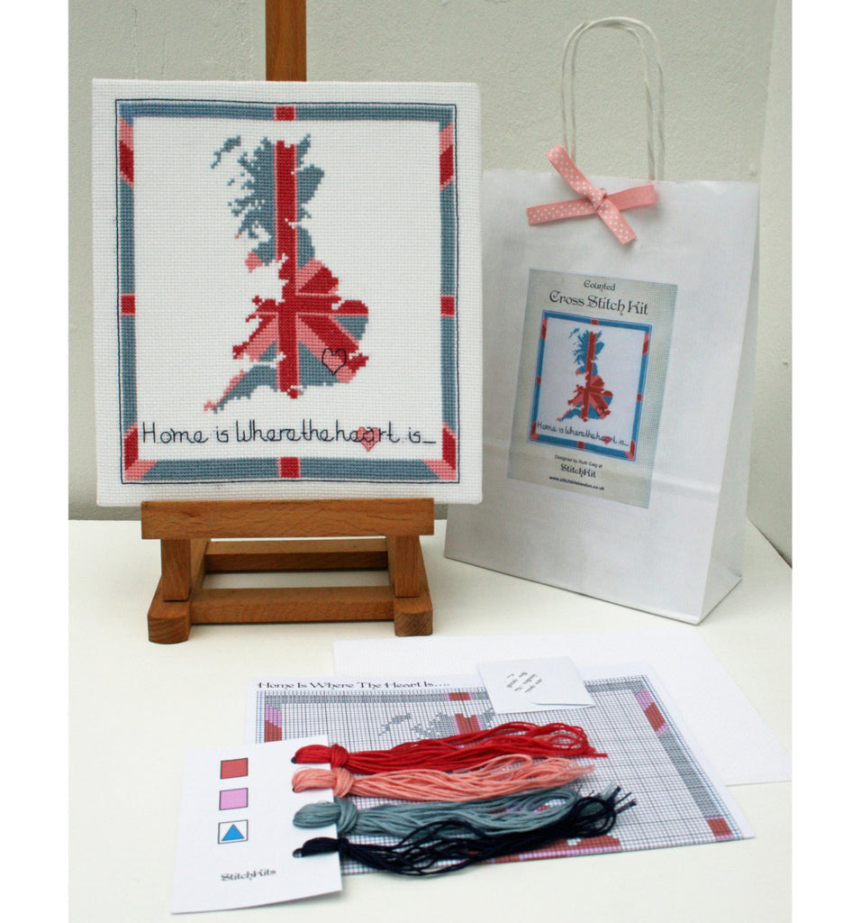 'Home is Where the Heart is' Contemporary Cross Stitch Kit - StitchKits Crafts