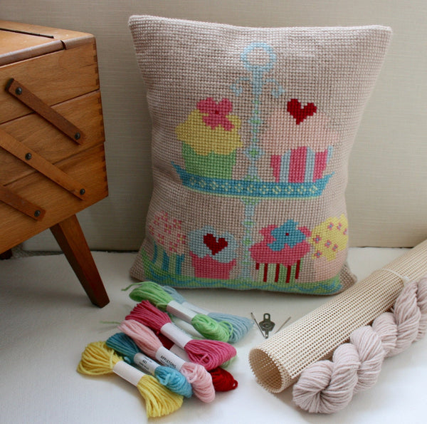 Candy Cup Cake,  Wool Cross Stitch Kit. - StitchKits Crafts