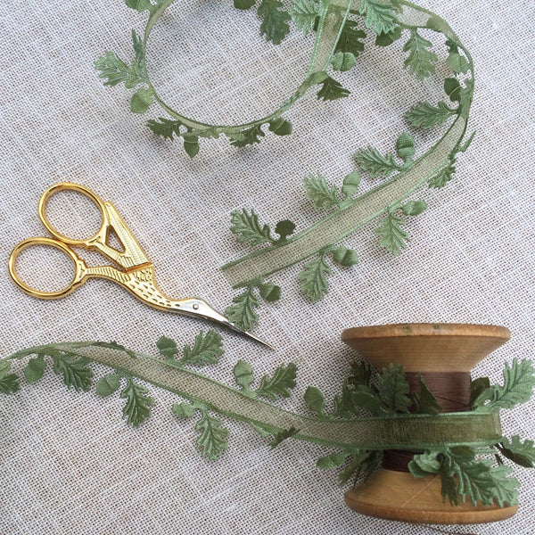 Green Satin Oak Leaf Ribbon with Sheer  Centre - StitchKits Crafts