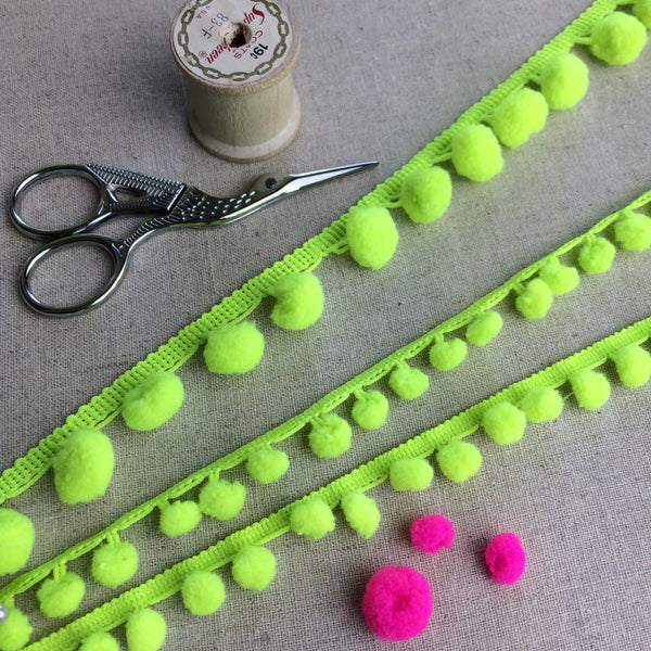 Neon Yellow - Lime Pom Pom Trim - StitchKits Crafts