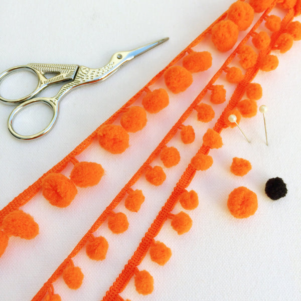 Orange Pom Pom Trim, 10mm and 15mm Pom Pom's - StitchKits Crafts