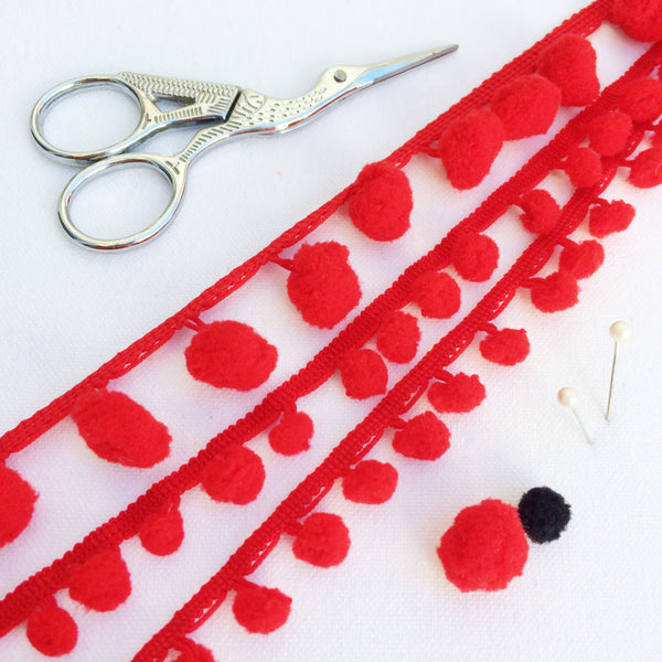 Red Pom Pom Trim with 10mm or 15mm pom pom's - StitchKits Crafts