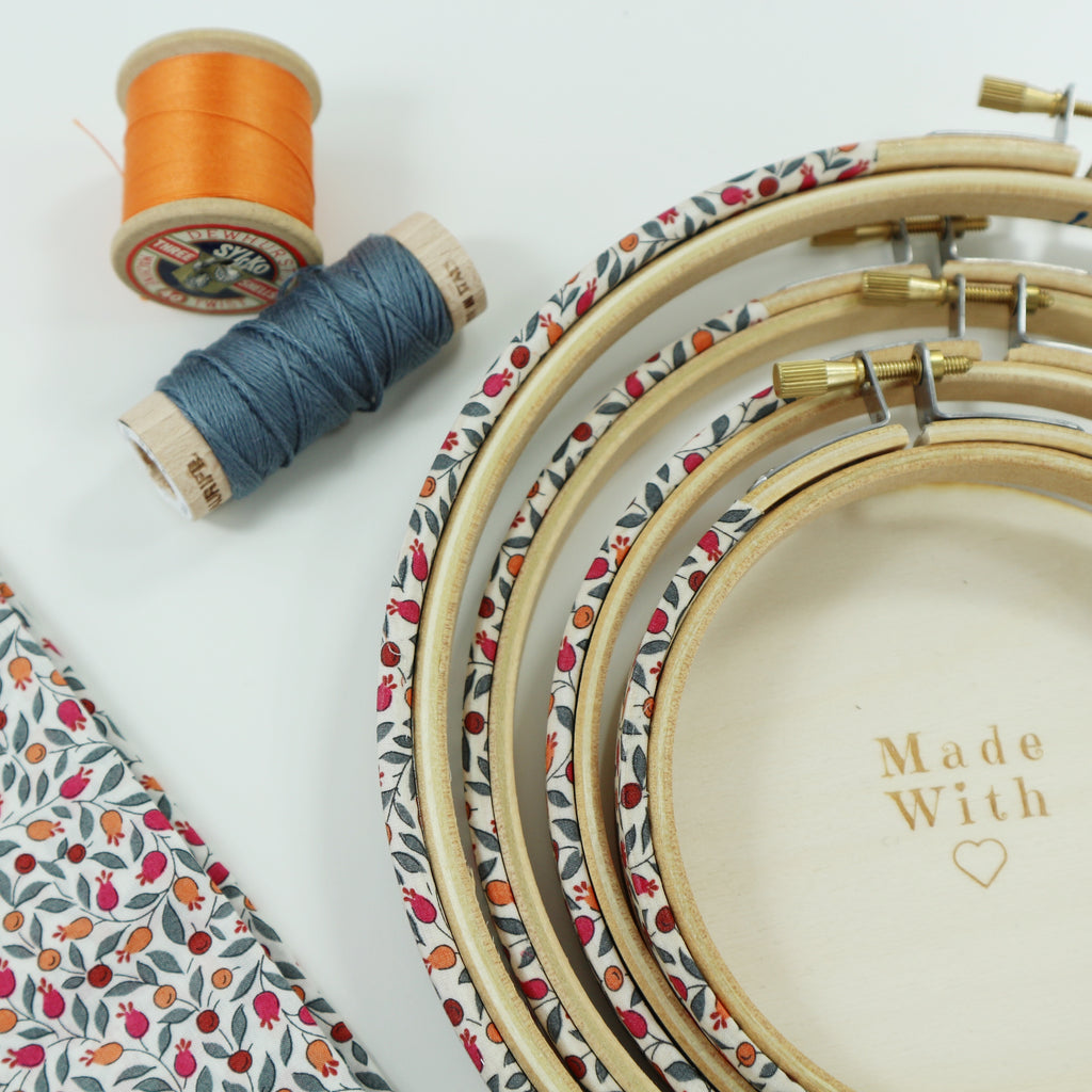coloured embroidery hoops for framing cross stitch and  hand embroidery