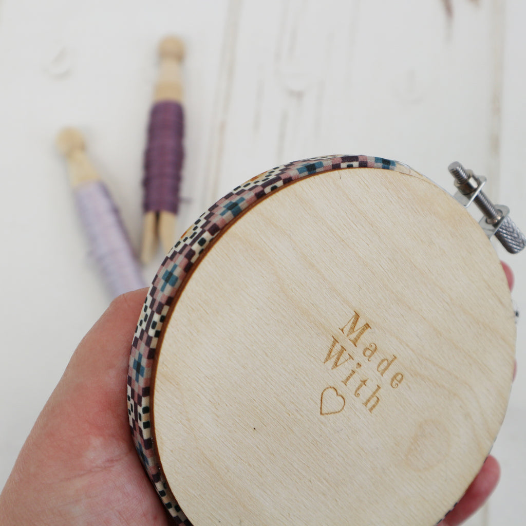 Geometric Cross Stitch Kit with 4inch Purple Embroidery Hoop Frame - StitchKits Crafts