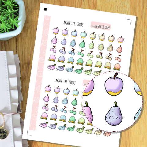 Animal Crossing Fruits Pastels Stickers à imprimer