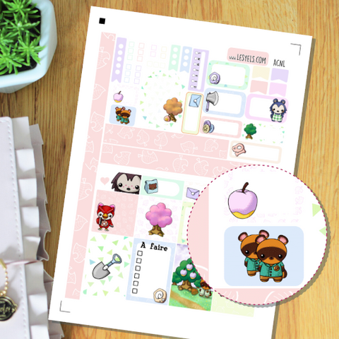 Animal Crossing Kit Pastels Stickers à imprimer