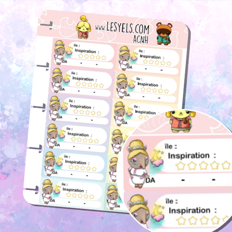 Animal Crossing Organisation visite de rêves Serena Stickers à imprimer