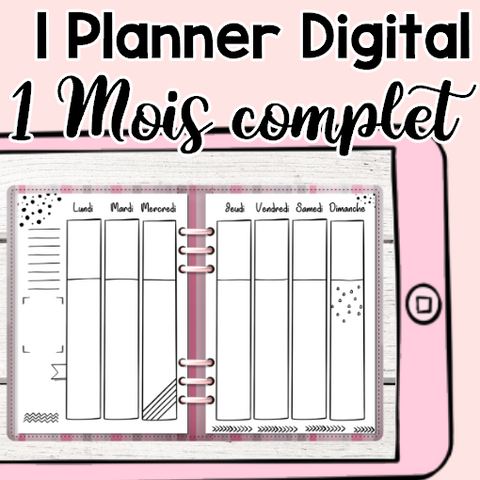 Rayures Roses, 1 mois complet pour Planner Digital