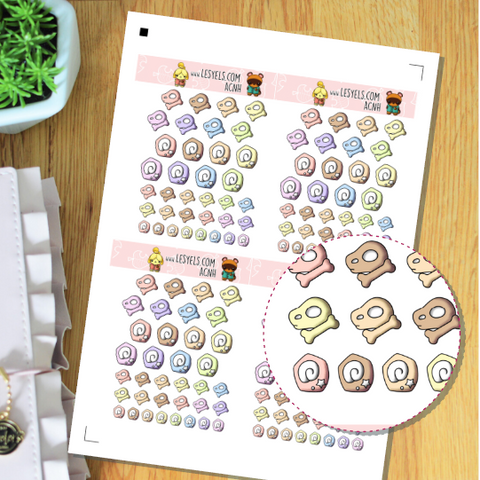 Animal Crossing Fossiles Pastels Stickers à imprimer
