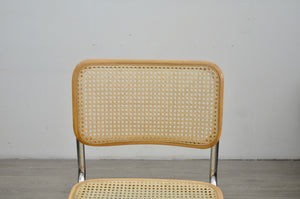 1 x Blonde Cesca Style Rattan and Chrome Dining Chair