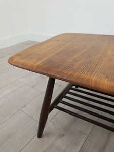 Mid Century Ercol Coffee Table with Magazine Rack, Restored