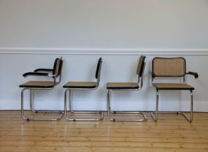 Set of 4 Black Marcel Breuer Style Cesca Chairs