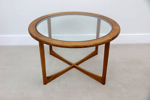 Mid Century Teak & Glass Round Coffee Table