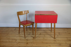 Red Formica desk and chair, 1960s