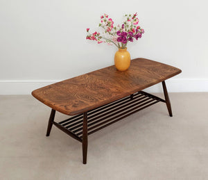 Mid Century Ercol Coffee Table with Magazine Rack in Elm