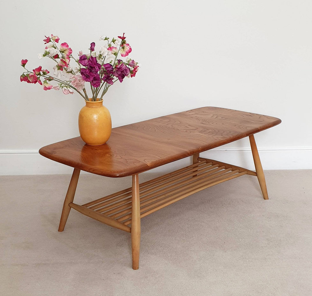 Mid Century Ercol Coffee Table with Magazine Rack in Blonde Elm