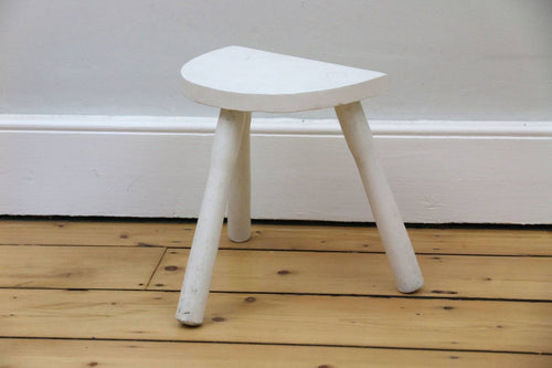 Vintage half moon painted milking stool, 2960s