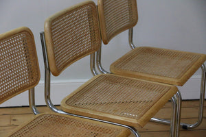 Set of 4 Cesca Chairs in style of Marcel Breuer, 1970s