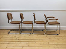 Load image into Gallery viewer, Set of 4 Brown Cantilevered Chairs in the Style of Marcel Breuer