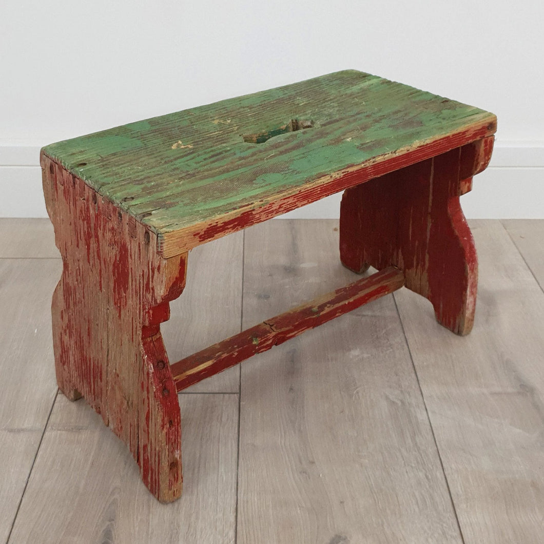 Hungarian Milking Stool with Original Paint