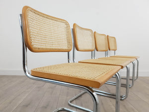 Set of Four Cesca Style Chairs, after Marcel Breuer