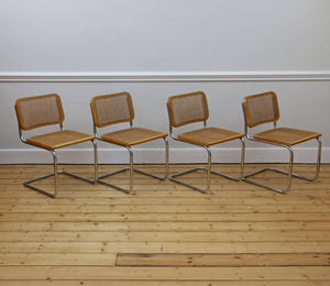 4 X Blonde Cesca Chairs, after Marcel Breuer, made in Italy