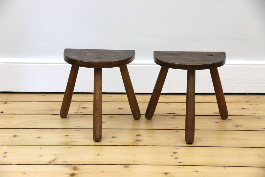 Pair of Rustic French Half Moon Stools