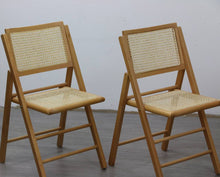 Load image into Gallery viewer, 4 X Mid Century Folding Dining Chairs with Rattan Seats