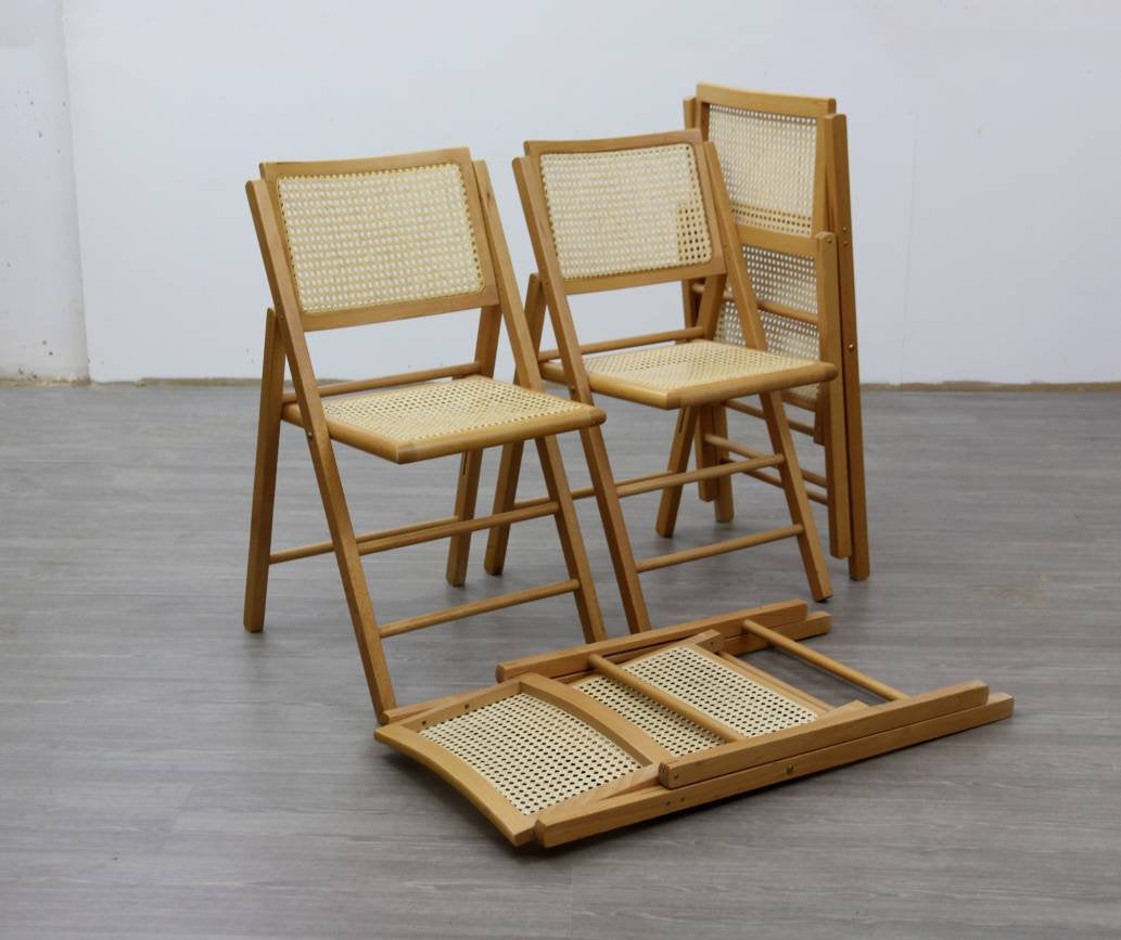 4 X Mid Century Folding Dining Chairs with Rattan Seats