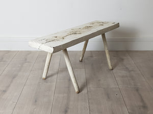 White Bench Stool from Hungary Mid Century Rustic Farmhouse