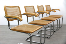 Load image into Gallery viewer, Four Cesca Style Carver Chairs After Marcel Breuer, 1980s