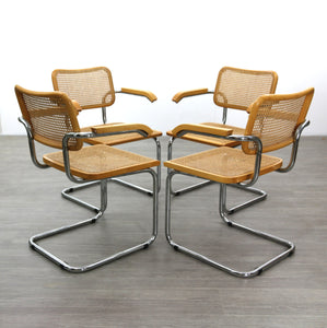 Four Cesca Style Carver Chairs After Marcel Breuer, 1980s
