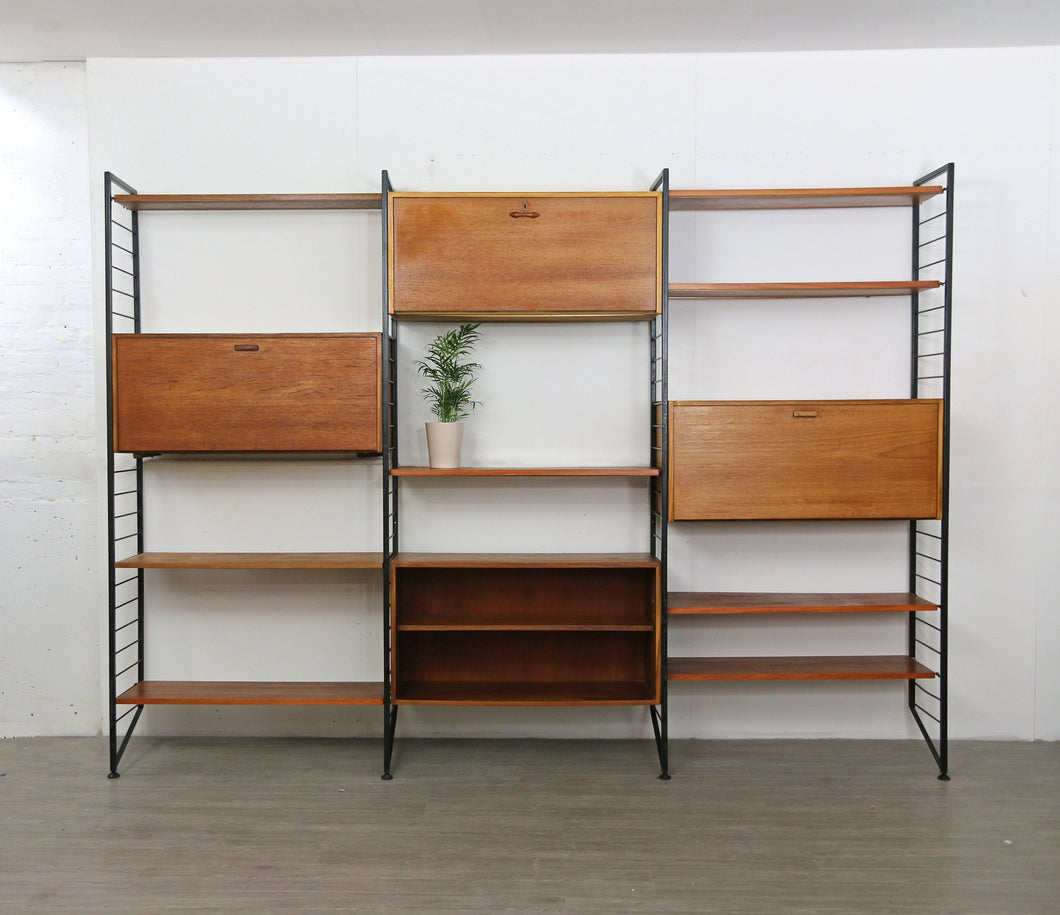 Ladderax Wall Unit in Teak and Steel
